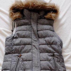 Banana Republic Zipper Gray Vest Hood XS